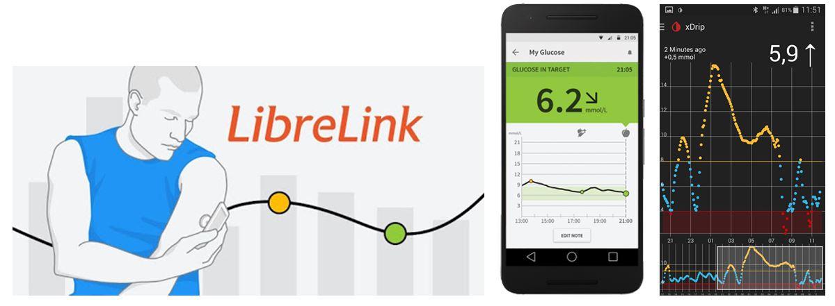 Originalna LibreLink aplikacija lijevo i xDRIP desno