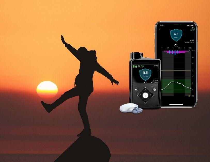 Medtronic 780G sustav: senzor, transmiter, pumpa i mobitel